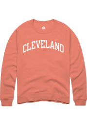 Rally Cleveland Womens Orange Wordmark Crew Sweatshirt