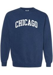 Rally Chicago Womens Navy Blue Wordmark Crew Sweatshirt