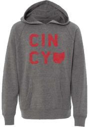 Rally Cincinnati Youth Grey State Home Long Sleeve Hoodie