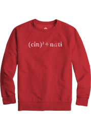 Rally Cincinnati Mens Red Equation Long Sleeve Crew Sweatshirt