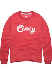 Rally Cincinnati Mens Red Retro Wordmark Long Sleeve Crew Sweatshirt