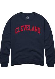 Cleveland Womens Navy Blue Arch Wordmark Crew Sweatshirt