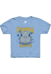 Rally Cincinnati Youth Light Blue Fiona the Hippo Peaking Out of Water Short Sleeve Fashion T-Shirt