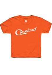 Rally Cleveland Youth Orange RH Script Short Sleeve T-Shirt