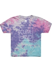 Rally Cleveland Youth Purple CLE Square Short Sleeve T-Shirt