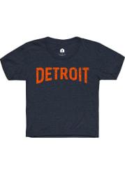 Rally Detroit Youth Navy Blue Arch Wordmark Short Sleeve T-Shirt