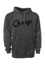 Rally Chicago Mens Black RH Script Long Sleeve Hoodie