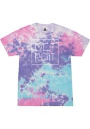 Rally Detroit Womens Purple Square Wordmark Short Sleeve T-Shirt