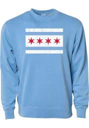 Rally Chicago Mens Light Blue City Flag Long Sleeve Crew Sweatshirt