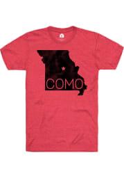 Rally Missouri Red COMO State Shape Short Sleeve Fashion T Shirt
