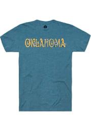 Rally Oklahoma Womens Teal Floral Short Sleeve T-Shirt