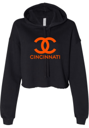 Rally Cincinnati Womens Black CC Wordmark Hooded Sweatshirt