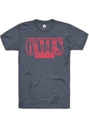 Gates Bar-B-Q Heather Navy Blue Prime Logo Short Sleeve T Shirt