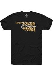 Rally Oklahoma Womens Black Cheetah State Short Sleeve T-Shirt