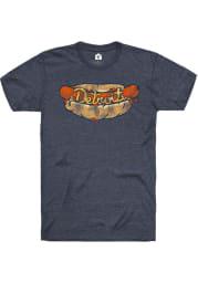 Rally Detroit Navy Blue Hot Dog Short Sleeve Fashion T Shirt