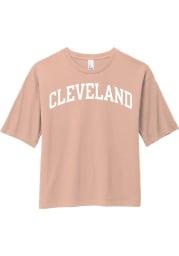 Rally Cleveland Womens Pink Arch Wordmark Short Sleeve T-Shirt