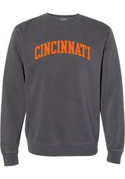 Rally Cincinnati Mens Charcoal Arch Wordmark Long Sleeve Crew Sweatshirt
