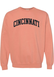 Rally Cincinnati Mens Orange Arch Wordmark Long Sleeve Crew Sweatshirt
