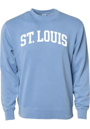 Rally St Louis Mens Light Blue Arch Wordmark Long Sleeve Crew Sweatshirt