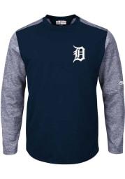 Detroit Tigers Mens Navy Blue On-Field Tech Big and Tall Crew Sweatshirt
