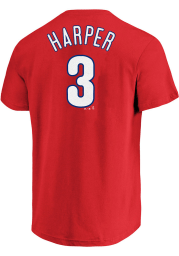 Bryce Harper Profile Philadelphia Phillies Mens Red Name # Big and Tall T-Shirt