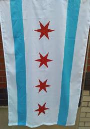 Chicago City White Silk Screen Grommet Flag