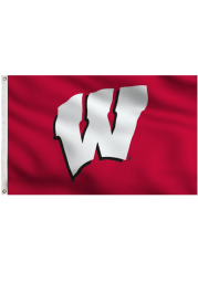 Wisconsin Badgers Team Logo Red Silk Screen Grommet Flag