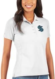 Antigua Seattle Kraken Womens White Pique Short Sleeve Polo Shirt