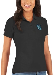 Antigua Seattle Kraken Womens Black Pique Short Sleeve Polo Shirt