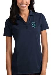 Antigua Seattle Kraken Womens Navy Blue Tribute Short Sleeve Polo Shirt