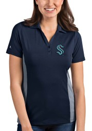 Antigua Seattle Kraken Womens Navy Blue Venture Short Sleeve Polo Shirt