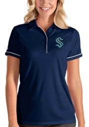Antigua Seattle Kraken Womens Navy Blue Salute Short Sleeve Polo Shirt