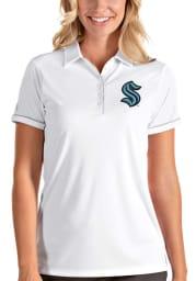 Antigua Seattle Kraken Womens White Salute Short Sleeve Polo Shirt