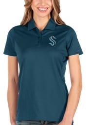 Antigua Seattle Kraken Womens Navy Blue Balance Short Sleeve Polo Shirt