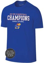 Kansas Jayhawks Blue 2017 Big 12 Regular Season Champions Short Sleeve Fashion T Shirt