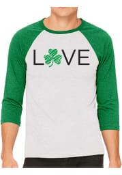 Rally White Love Shamrock Raglan ¾ Sleeve T Shirt