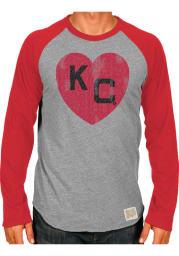 Original Retro Brand Kansas City Monarchs Grey Monarch Heart Long Sleeve Fashion T Shirt