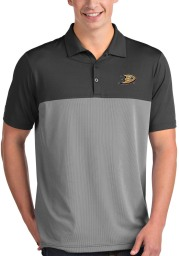 Antigua Anaheim Ducks Mens Grey Venture Short Sleeve Polo
