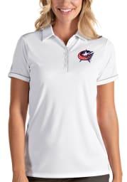 Antigua Columbus Blue Jackets Womens White Salute Short Sleeve Polo Shirt