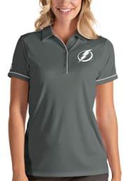 Antigua Tampa Bay Lightning Womens Grey Salute Short Sleeve Polo Shirt