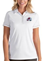 Antigua Colorado Avalanche Womens White Salute Short Sleeve Polo Shirt