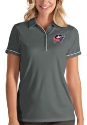 Antigua Columbus Blue Jackets Womens Grey Salute Short Sleeve Polo Shirt