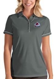 Antigua Colorado Avalanche Womens Grey Salute Short Sleeve Polo Shirt