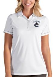 Antigua Vancouver Canucks Womens White Salute Short Sleeve Polo Shirt