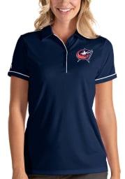 Antigua Columbus Blue Jackets Womens Navy Blue Salute Short Sleeve Polo Shirt