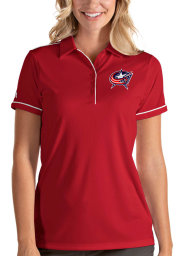 Antigua Columbus Blue Jackets Womens Red Salute Short Sleeve Polo Shirt