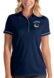 Antigua Vancouver Canucks Womens Navy Blue Salute Short Sleeve Polo Shirt
