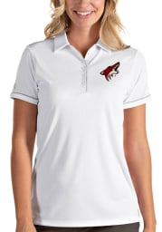 Antigua Arizona Coyotes Womens White Salute Short Sleeve Polo Shirt
