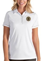 Antigua Boston Bruins Womens White Salute Short Sleeve Polo Shirt