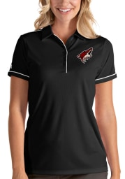 Antigua Arizona Coyotes Womens Black Salute Short Sleeve Polo Shirt